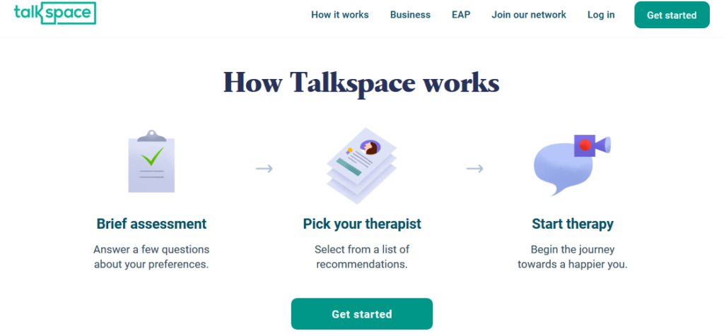 talkspace site homepage